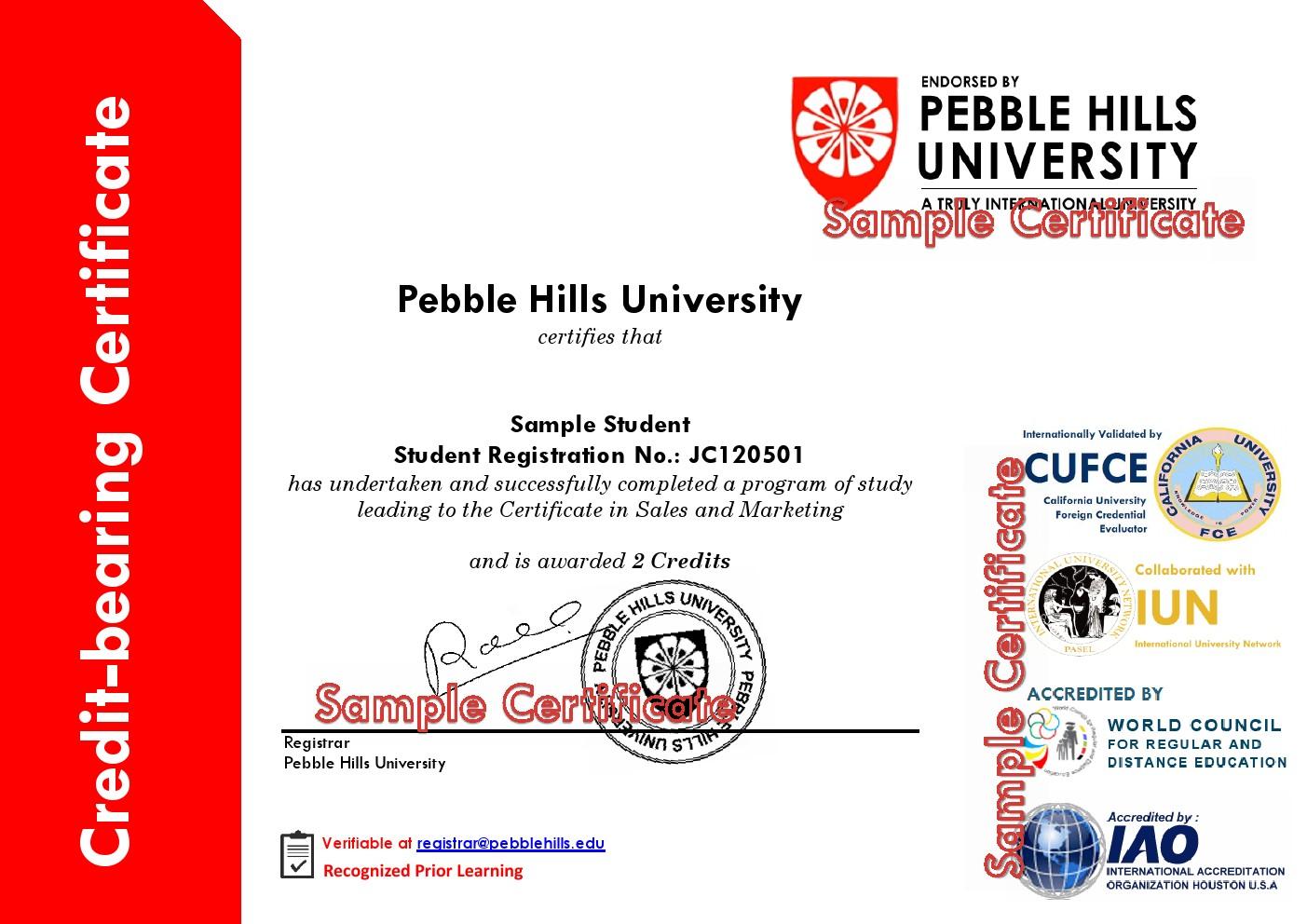 PHU Standard Sample Credit-bearing Certificate