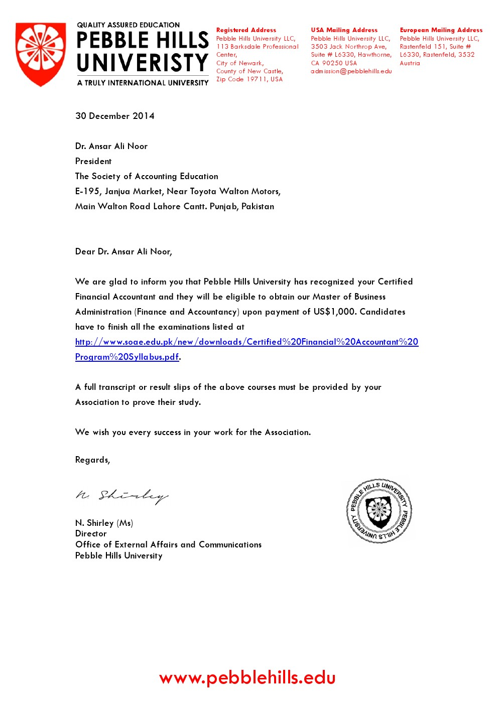 PHU Recogntion letter to SOAE