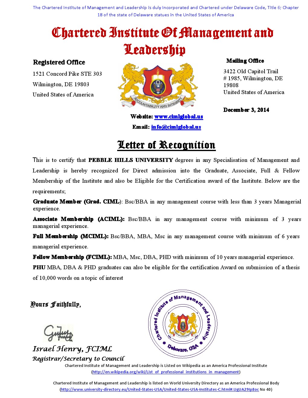 University Letter of recognition (1)