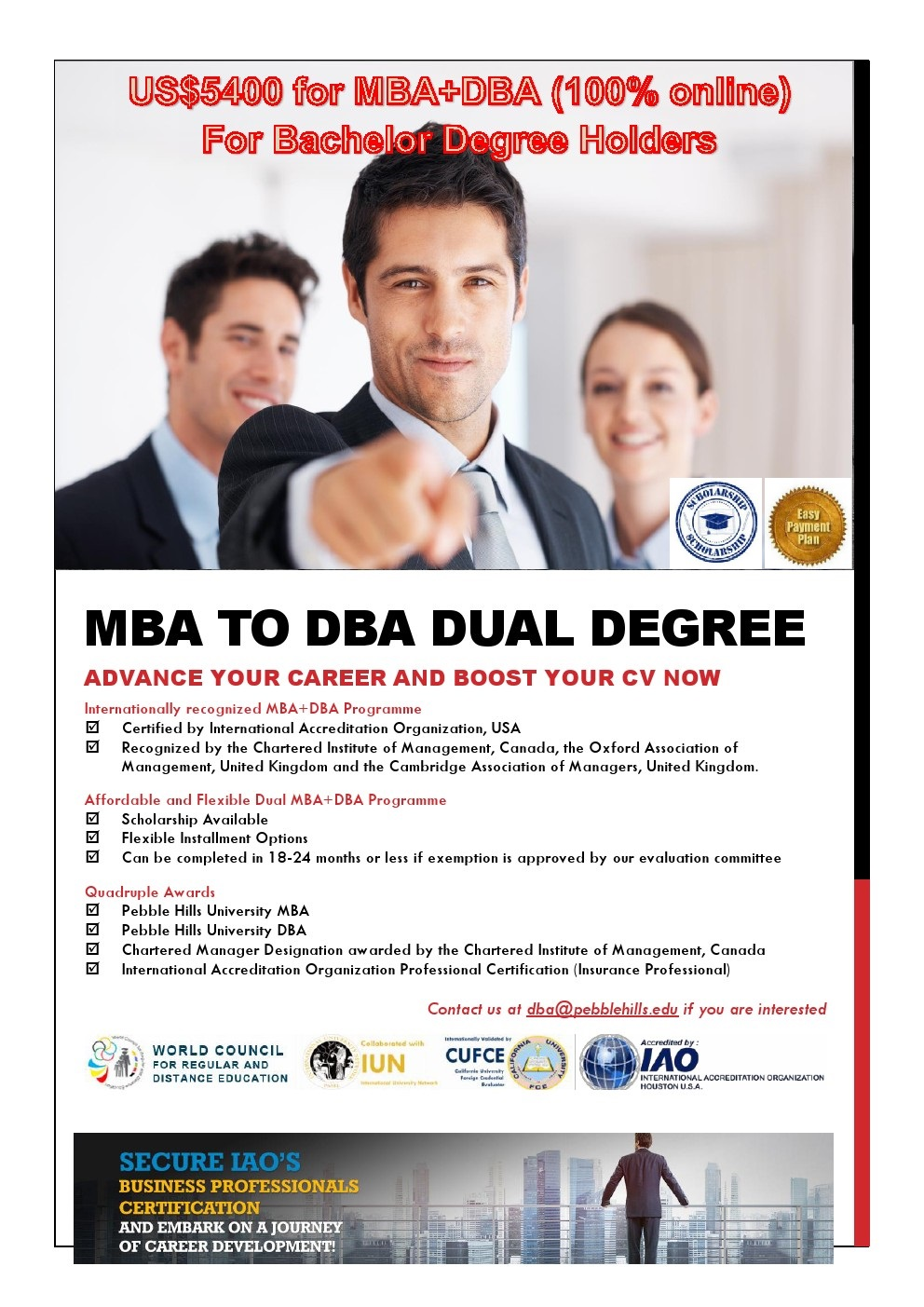 MBA DBA Dual Degree Brochure (for Bachelor)