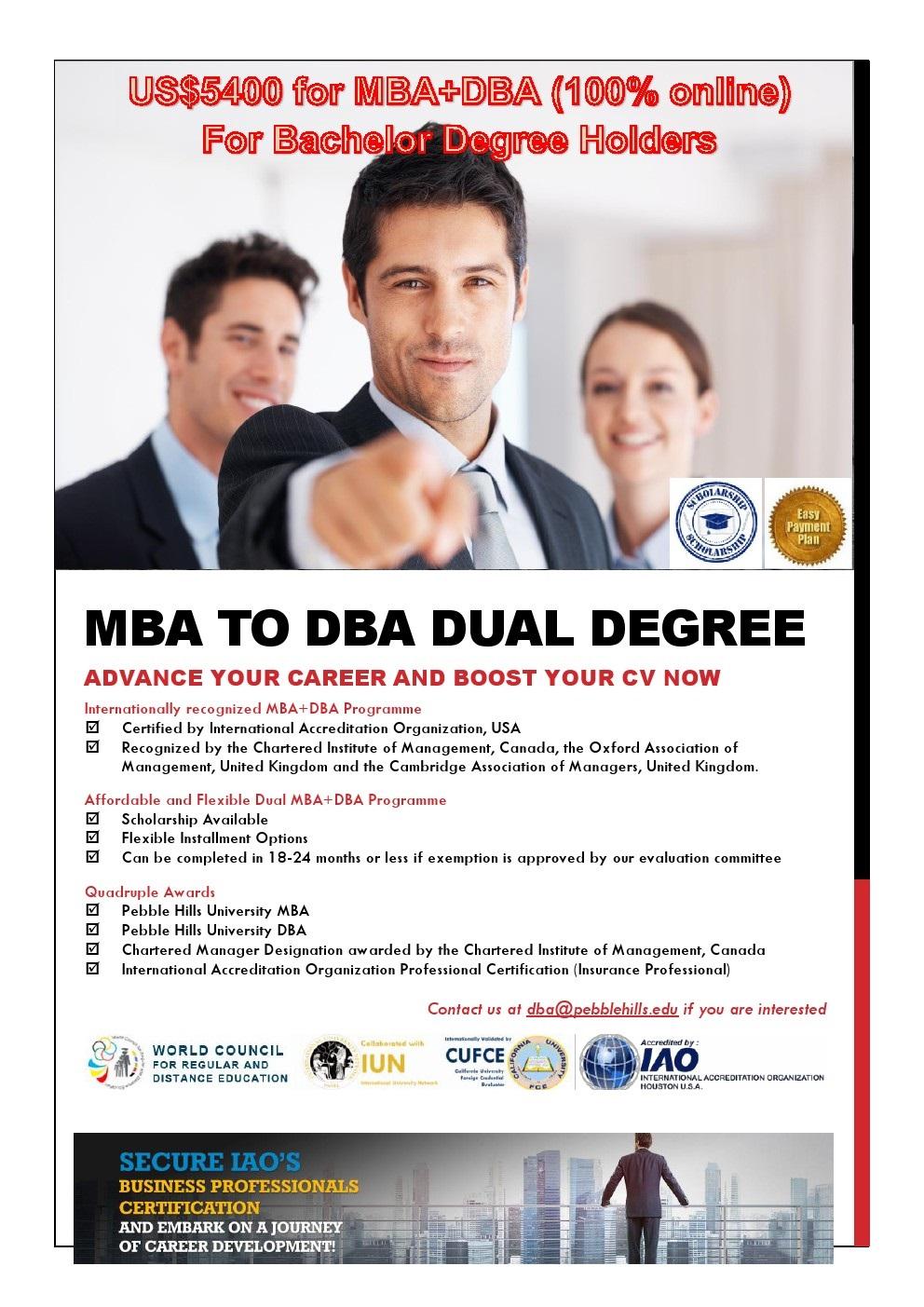 MBA DBA Dual Degree Brochure (for Bachelor)