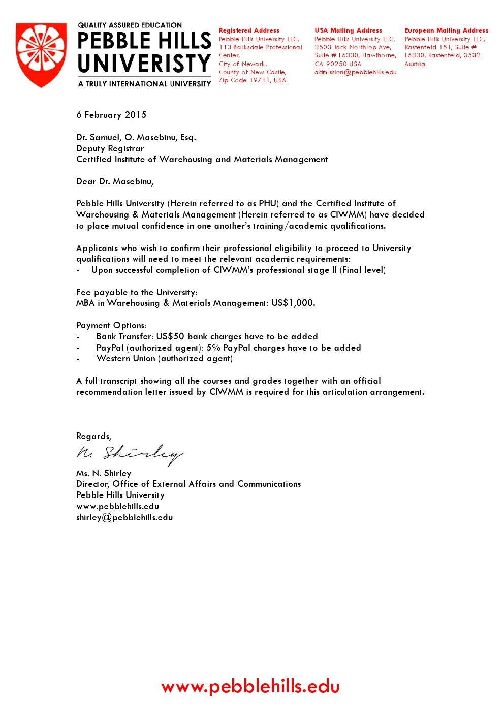 Letter to CIWMM