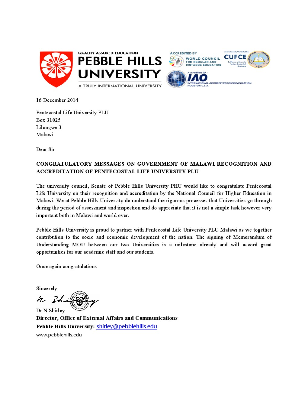 Pebble hills university congratulation letter