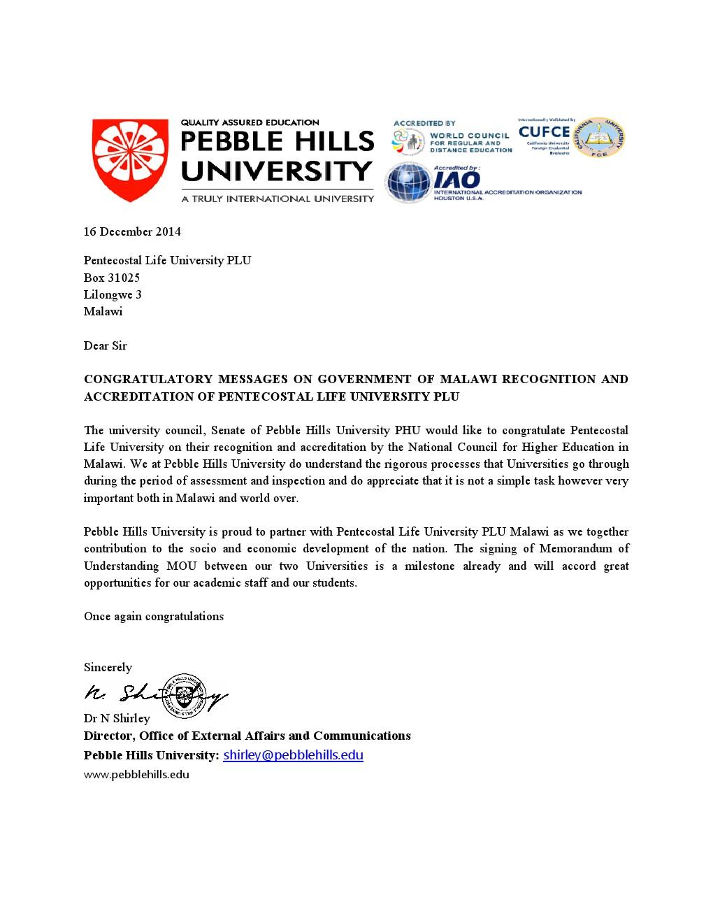 Pebble hills university congratulation letter